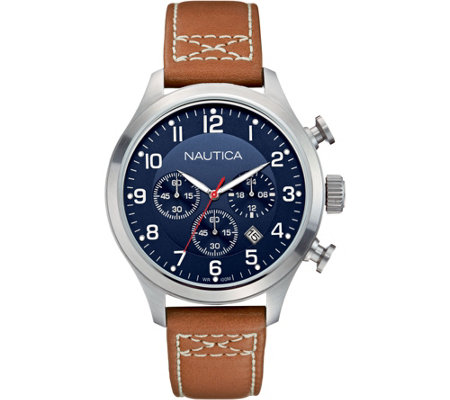Nautica Men's Stainless Steel Leather Strap Chronograph Watch