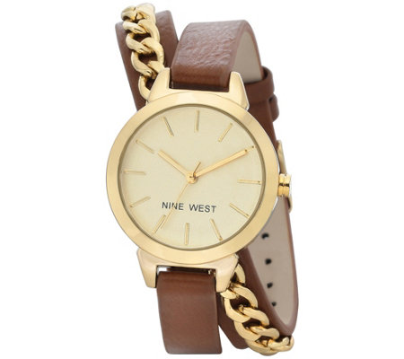 Nine West Ladies' Darbiesue Brown Double Wrap Strap Watch