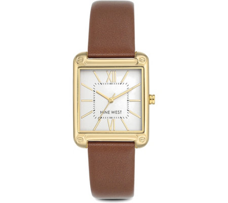 Nine West Ladies Farrensal Square Case Brown Strap Watch
