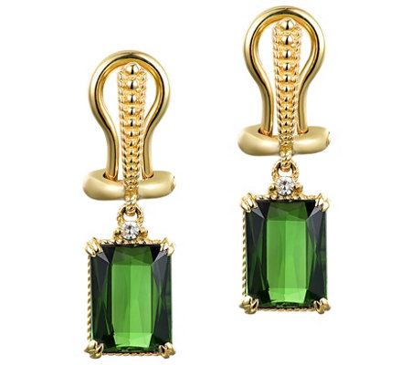 Judith Ripka 14K Gold Green Tourmaline & Diamond Earrings