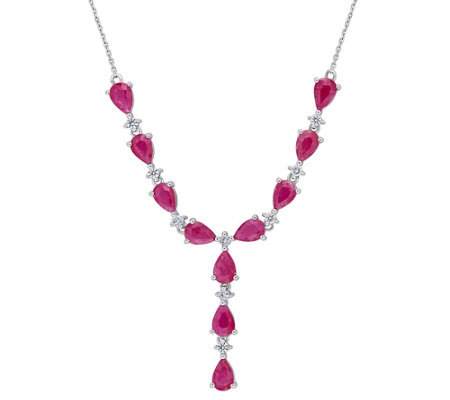 14K Gold 4.60 cttw Ruby & Diamond Lariat Necklace