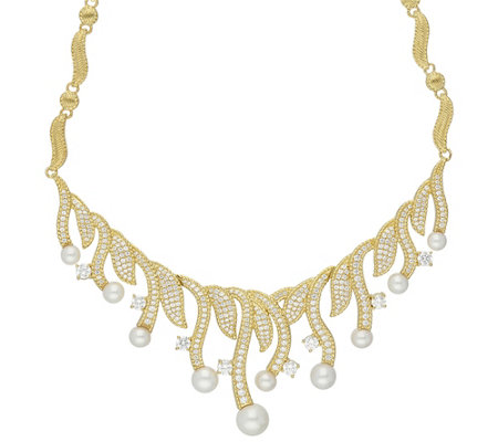 Judith Ripka 14K Clad 5.30 cttw Diamonique Pearl Necklace