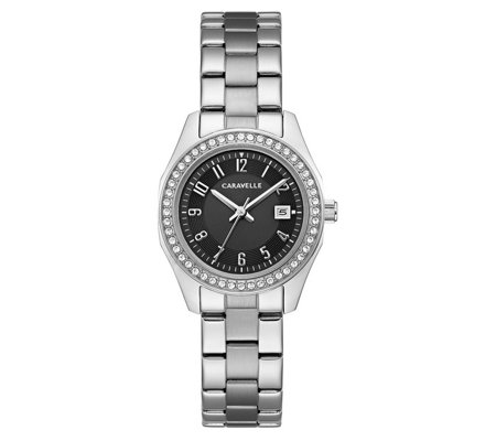 Caravelle Women's Stainless Black Crystal DialBracelet Watch