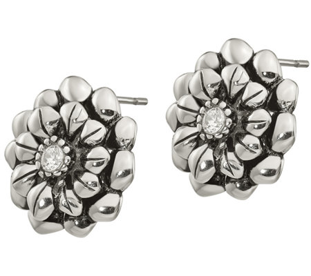 Stainless Steel Crystal Flower Stud Earrings
