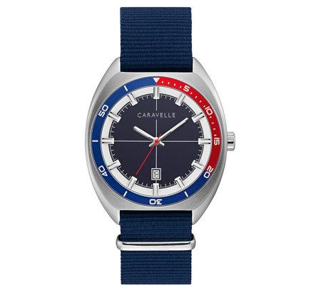 Caravelle By Bulova Men S Blue Nylon Strap Watch