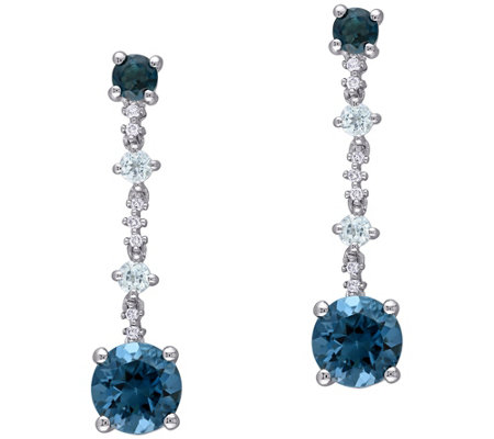 14k Gold 3 95 Cttw Blue Topaz And Diamond Accent Drop Earrings