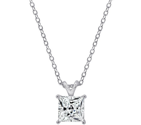 Diamonique Sterling 3.00 cttw Princess-Cut Solitare Necklace