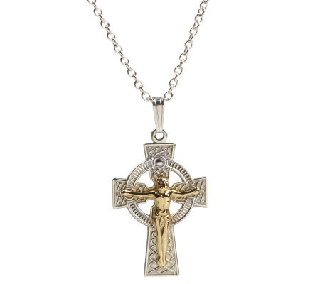 Sterling Silver Celtic Cross Crucifix with 14K Gold Plating
