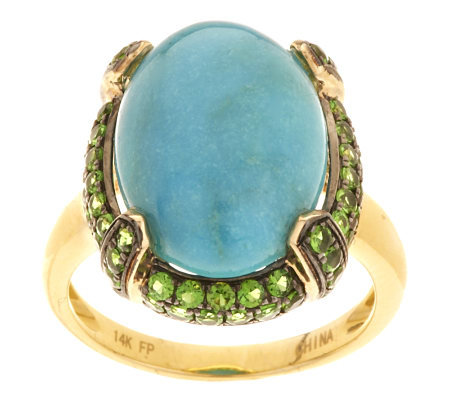 Oval Turquoise & 0.70 ct tw Pave' Chrome Diopside Ring 14K Gold