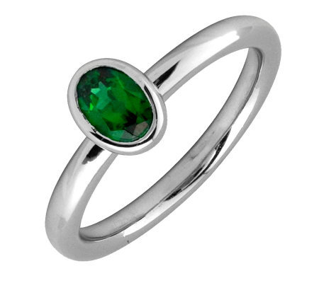 Simply Stacks Sterling & Oval Created-Emerald Ring
