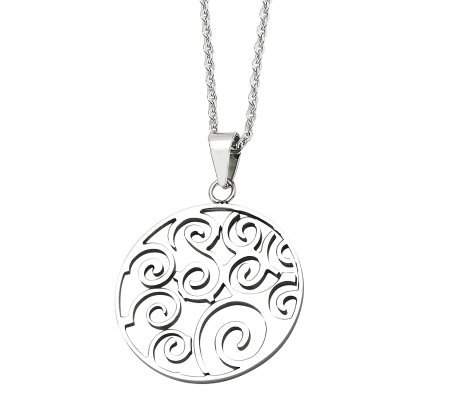 "Stainless Steel Cut-out Fancy Swirl Pendant w/21-1/4""L Chain"