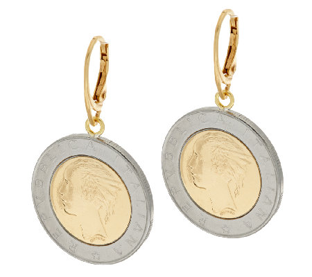 Bronze 500 Lire Coin Leverback Earrings by Bronzo Italia