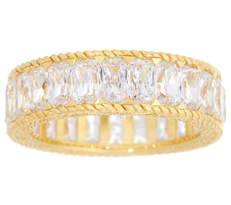 Judith Ripka 14K Clad Baguette Diamonique Eternity Ring