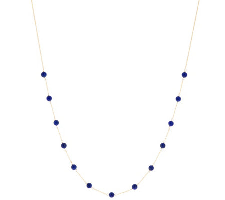 "Italian Gold 20"" Gemstone Bead Station Necklace 14K Gold"