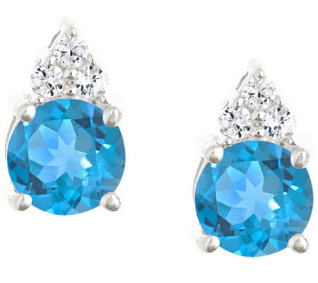 Premier 1.60cttw Round Blue Topaz & Diamond Earrings, 14K