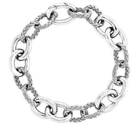 "Sterling Polished and Textured 8"" Bracelet"