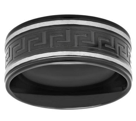 Forza Men's Black-Plated Stainless Steel GreekKey Design Ring