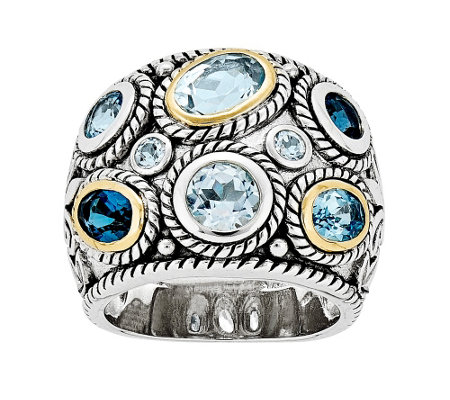 Sterling & 14K Gold Blue Topaz Ornate Ring