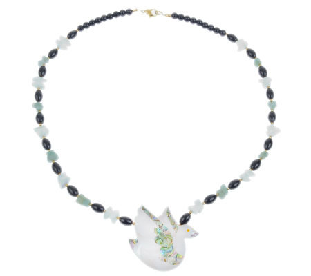 Lee Sands Swan Inlay & Gemstone Bead Necklace