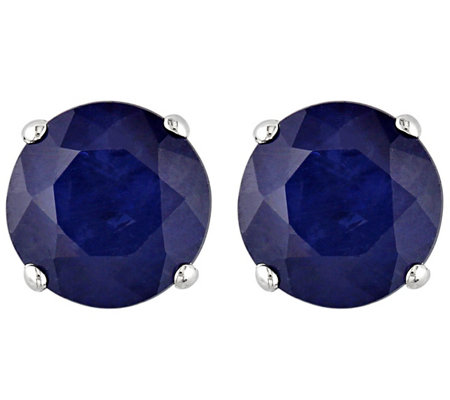 1.20 cttw Sapphire Stud Earrings, 14K White Gold