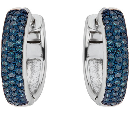Affinity 1 2 Cttw Blue Diamond Earrings Sterling