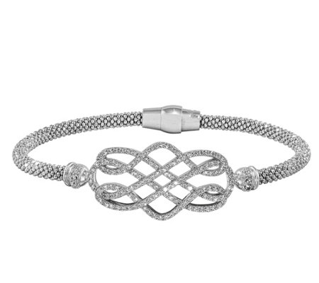 "Sterling Crystal Twisted Design 7"" Bracelet"