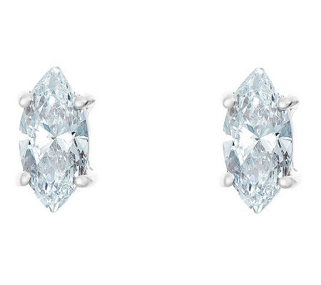 Marquise Diamond Earrings, 14KWhite Gold, 1/2cttw, by Affinity