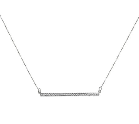 Dainty Designs 14K 1/10 cttw Diamond Large BarNecklace