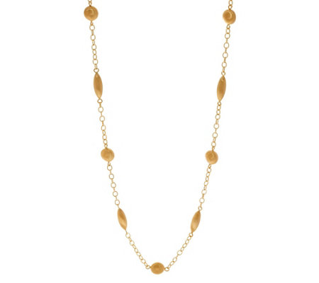 "Arte d' Oro 32"" Satin Bead Chain Necklace 18K Gold, 17.2g"