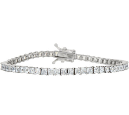 Diamonique Princess Cut Tennis Bracelet 14K Gold, Large