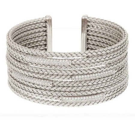 """As Is"" Italian Silver Average Woven Multi-Row Diamonique Station Cuff"