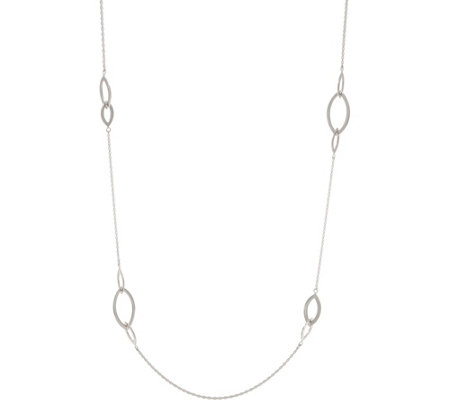 "Sterling Silver 36"" Polished Marquise Station Necklace"