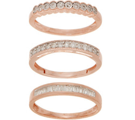 Set of 3 Diamond Rings, 1/2 cttw, Sterling, by Affinity
