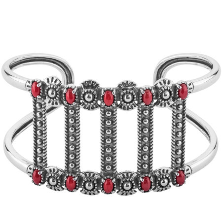 American West Sterling Silver Bold Red CoralCuff