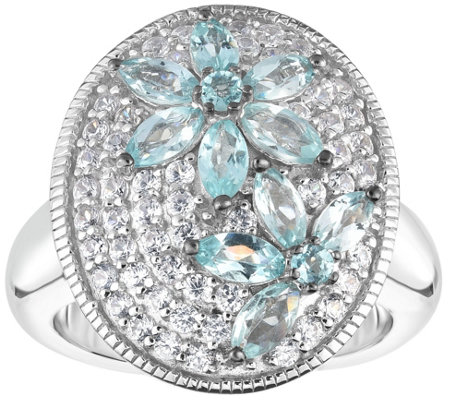 Sterling 2.25 cttw Apatite & White Zircon Ring