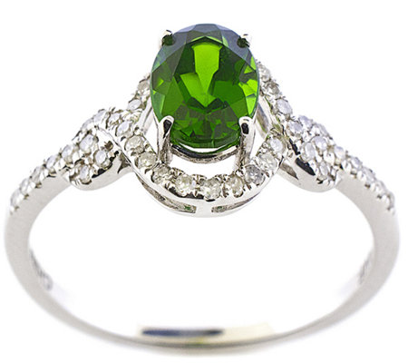 0.70 ct Green Chrome Diopside & 1/5 cttw Diamond Ring, 14K