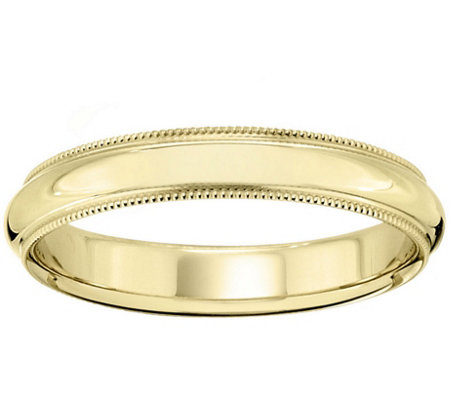 Women's 18K Yellow Gold 4mm Milgrain Wedding Band