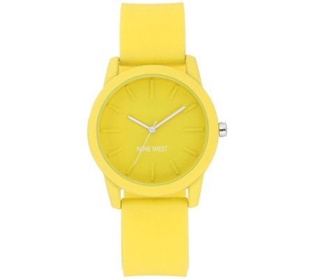Nine West Women's Yellow Silicon Strap Watch