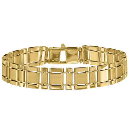"Italian Gold Men's 8-1/4"" Rectangle Link Bracelet, 22.0g, 14K"