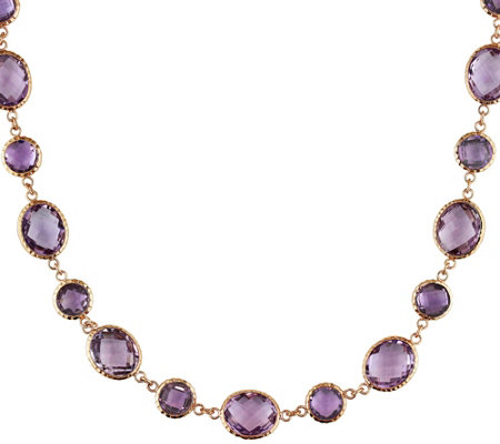 14K Gold 55.50 cttw Rose de France & Amethyst Station Necklace