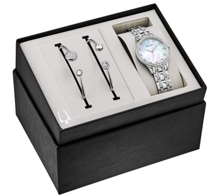 Bulova Women S Crystal Watch And Cuff Set