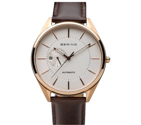 Bering Men S Leather Strap Vitus 1728 Watch