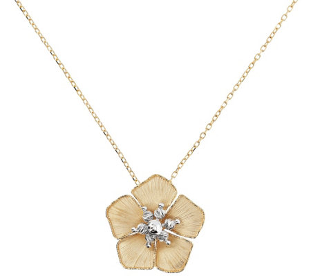 Arte D Oro Two Tone Flower Pendant With Chain 6 8g