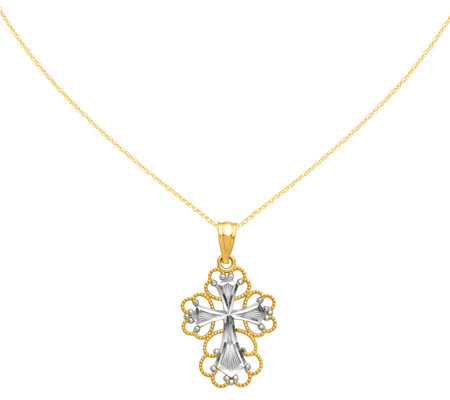 14k Two Tone Cross Pendant W 18 Chain