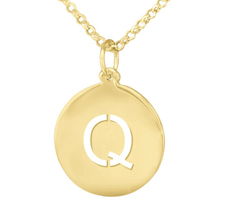 14k Yellow Gold Plated Personalized Initial Pendant