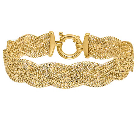 "Italian Gold Braided 7-1/4"" Bracelet, 14K 8.2g"