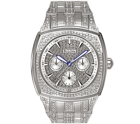 Bulova Men's Crystal Bracelet Watch w/ Pave Dial