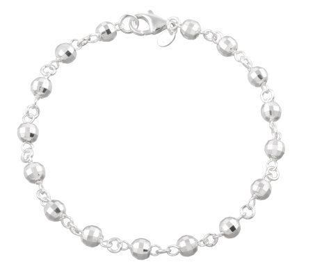 "UltraFine Silver 10"" Disco Bead Station Anklet,9.2g"