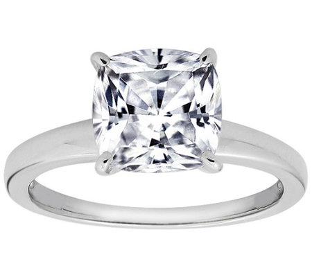 Diamonique Cushion 100-Facet Solitaire Ring, Platinum Clad