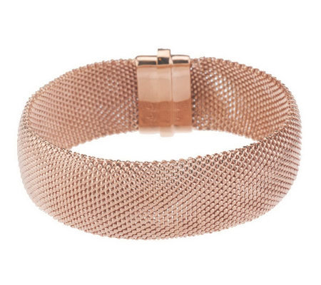 VicenzaSilver Sterling Average Crystal Mesh Bracelet